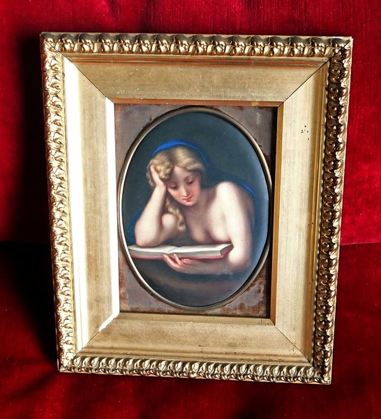 Framed 18th Century Oil on Porcelain Mary Magdalene in Gilded Frame.