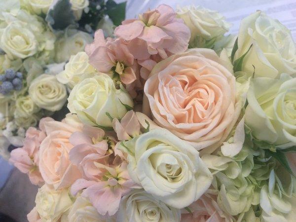 Garden Rose Bridal Bouquet Blush Light Peach And Cream
