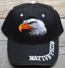 Ball Cap with Native American Design featuring Native Pride Lettering and Bald Eagle Head