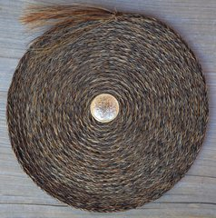 Large Flat Horsehair Braided Basket by David Bendiola