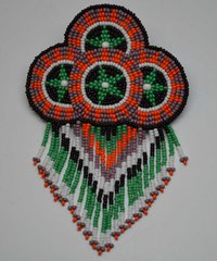 Hand Beaded Barrette - Four Baskets Design with Fringes (GreenBlackPlum)