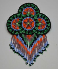 Hand Beaded Barrette - Four Baskets Design with Fringes (PlumOrangeGreen)