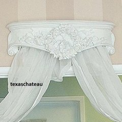 ORNATE SHABBY COTTAGE WHITE BED CROWN FRENCH COUNTRY VINTAGE STYLE CHIC CANOPY