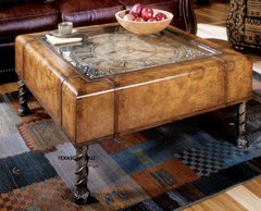 OLD WORLD MAP & CLOCK TUSCAN COFFEE COCKTAIL TABLE LEATHER ACCENT TRUNK