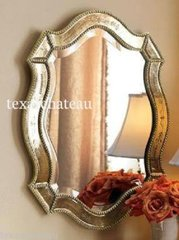 LARGE ~ ANTIQUE GOLD & SILVER VENETIAN ARCHED MIRROR ~ SHABBY FRENCH CHIC ARCH