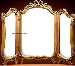 ORNATE ARCH GOLD GILT 3-PANEL VANITY MIRROR ANTIQUE FRENCH REGENCY VENETIAN STYLE TABLE TOP