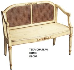 FRENCH COUNTRY ~ DISTRESSED CREAM & GOLD PAINTED WOVEN CANE SETTEE ~ BENCH CHAIR COUCH
