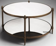 MODERN FRENCH TUSCAN BRONZE IRON & MIRRORED COFFEE TABLE TRANSITIONAL FURNITURE