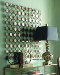 LARGE MODERN ANTIQUE SILVER GOLD WALL MIRROR ~ SQUARE W/100 ROUND MIRRORS ~ NEW