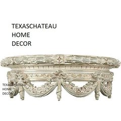 ORNATE ANTIQUE CREAM SILVER BED CROWN FRENCH REGENCY VINTAGE STYLE WALL CANOPY