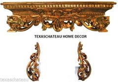 ANTIQUE GOLD WALL BED CROWN & TIEBACK FRENCH REGENCY TUSCAN VINTAGE STYLE CANOPY