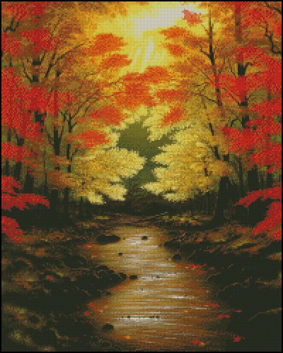 Autumn Forest Lullaby Counted Cross Stitch Pattern