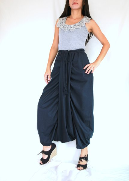 Women Navy Blue Harem Pants Sarouel Baggy Festival Genie ...