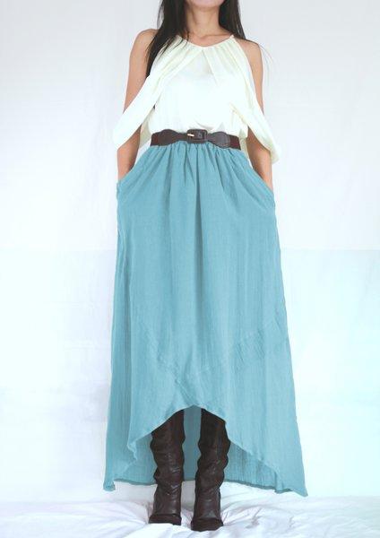 light pastel blue high low summer cotton maxi skirt