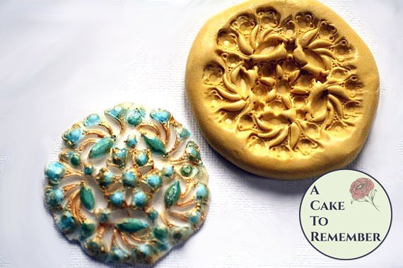 Silicone brooch mold for fondant medallions- cake decorating, chocolate, hard candy, polymer clay, resin, wax, soap, silicone mould  M012