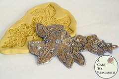 Sequin flower applique for cake decorating, flower applique for cakes, cake lace beaded lace mold M5091