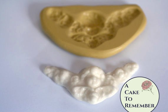 Small cherub swag mold for cake decorating, polymer clay. Cake supplies and cake silicone molds for DIY wedding cakes. M5031