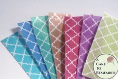 "3 full sheets (choose one color) quatrefoil printed wafer paper for cake , cookie, or cupcake decorating. 8"" x 10"" edible paper print"