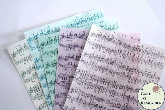 Three full sheets printed wafer paper sheet music for cake decorating. Wafer paper for cake and cupcake decorating, colored wafer paper.