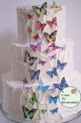 Assorted sizes edible butterflies for cake decorating, cupcake decorating, cake pops. Wafer paper butterflies, wedding cake toppers.