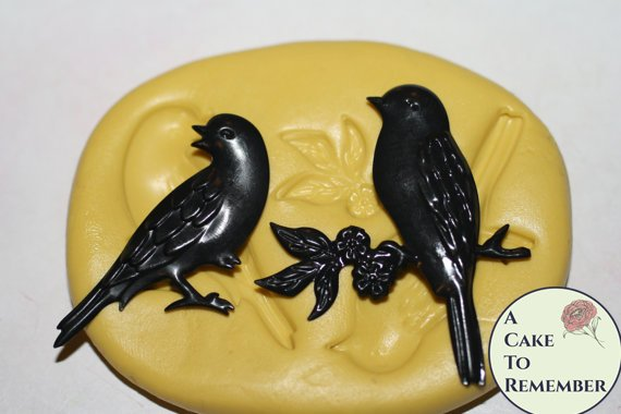 Silicone two bird mold for cake decorating M1032