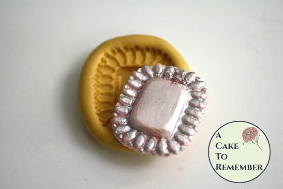 Rectangular jewel brooch silicone mold M5052