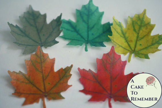 12 Wafer paper maple leaves, edible leaves for cake ...