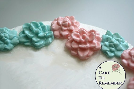 Fondant edible succulents gender reveal party cupcake toppers, twin baby shower cake toppers, gender reveal decoration, fondant succulents