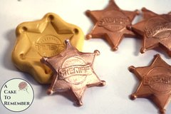 Sheriff's badge mold for cake decorating, polymer clay. Cake supplies and cake silicone molds for DIY kids cakes. M5045