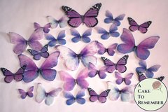 26 purple spring wedding cake decorations for a rustic wedding cake or a butterfly wedding cake. Edible butterflies, bridal shower ideas.