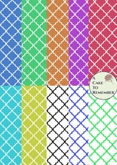 Digital download--Printable quatrefoil wafer paper file for cake decorating or cupcake decorating