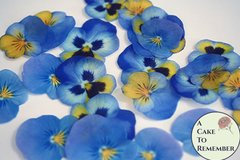 "24 blue and yellow wafer paper edible pansies, 1.5"" - 2"" wafer paper flower cupcake toppers. Good for vegan cakes and cookies"