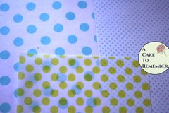 "3 sheets polka dot printed wafer paper (choose one color) for cake or cupcake decorating. 8"" x10"" Edible paper prints"