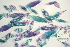 35 small Wafer paper feathers, shades of pink and soft green color in 3 sizes