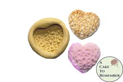 "Filigree Silicone heart mold, 1.25"" wide, for fondant medallions- cake decorating, chocolate, hard candy, polymer clay, resin, wax, soap, silicone mould"