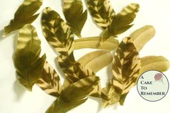 35 small Wafer paper feathers, matte gold color in 3 sizes