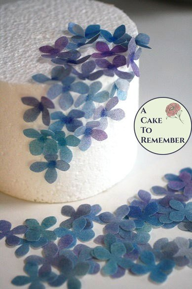50 small wafer paper flowers for cake decorating, cupcake decorating.