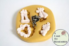 Wedding charms silicone mold for fondant, gumpaste, polymer clay, or resin mold. Small cake pull mold for cake pops or cupcake toppers M5118
