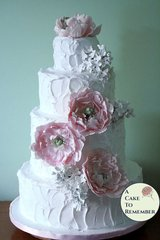 Gumpaste peonies and lilacs for wedding cake, DIY wedding cake decorations