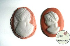 12 Fondant cameos for cake decorating or cupcake decorating, edible cameo, cake cameo