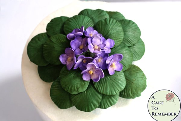 "Large African violets gumpaste cake topper. 7-8"" across. Unique garden wedding cake topper, cake buffet decorations for single tier"