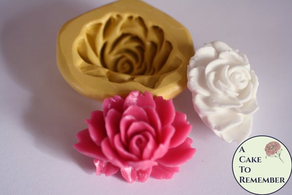 "1.5"" peony silicone mold for gumpaste or soap embeds. M5150"