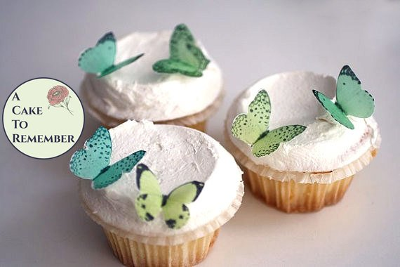 24 small shades of green butterflies for cake decorating, cupcake decorating, cake pops. edible butterflies, Wafer paper butterflies, wedding cake toppers