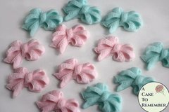 12 Fondant bows for gender reveal party cake topper, baby shower cake ideas, cake decorating. Fondant bows for cake pops.
