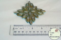 Diamond rhinestone beaded applique for cake decorating, silicone gumpaste mold, beaded lace mold M5094