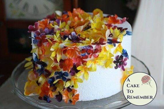 50 wafer paper flowers and leaves for cake decorating and cupcake decorating, wedding cake toppers, edible flowers, rice paper flowers