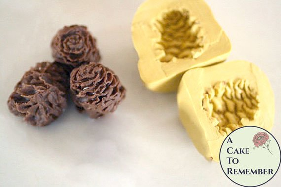 Small two-sided silicone pinecone mold for cake decorating