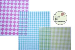 "3 full sheets diamonds printed wafer paper (choose one color) for cake or cupcake decorating. 8"" x 10"" edible paper prints"