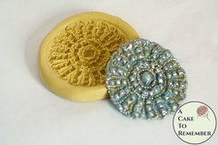 Round rhinestone medallion for cake decorating, silicone gumpaste mold,beaded lace mold  M5088