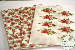 Set of 4 sheets, small roses floral printed wafer paper for cake decorating or cupcake decorating. Edible paper prints.